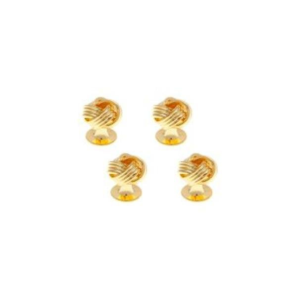 4 Gold Plated Knot Weave Style Dress Studs Set