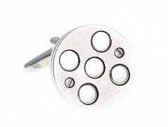5 Circle Brushed Silver Round Cufflinks