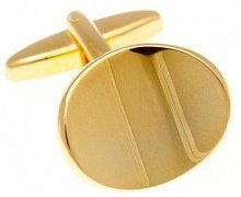 Abstract Oval Gold Plated Cufflinks