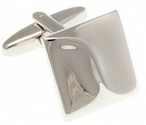 Abstract Wave Simply Metal Square Cufflinks