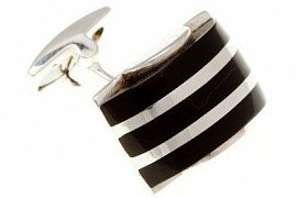 Black onyx and 925 solid silver striped dome cufflinks