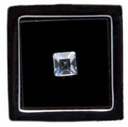 Black Square Lapel Pin With Clear Crystal Centre