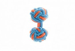 Blue & Tango Orange Silk Cuffknots