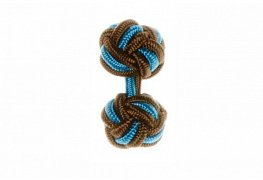 Brown & Blue Silk Cuffknots