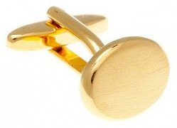 Brushed Gold Plated Oval Cufflinks