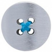 Brushed Metal Button Lapel Pin with Blue Thread