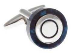 Circular Cufflinks Wrapped In Polished Blue Speckled Acrylic