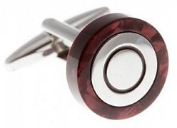 Circular Cufflinks Wrapped In Polished Red Speckled Acrylic