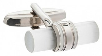 Classic Tube Cufflinks With White Enamel Band Detail