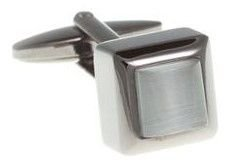 Cube Style White And Gun Metal Cufflinks
