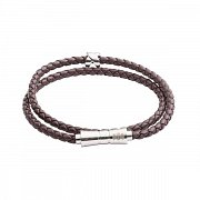 Double Wrap Criss Cross Brown Leather Stacking Bracelet