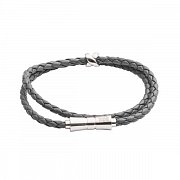 Double Wrap Criss Cross Grey Leather Stacking Bracelet