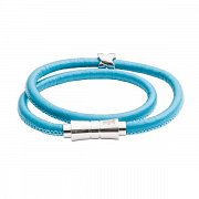 Double Wrap Serpentine Turquoise Leather Bracelet