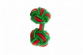 Emerald Green & Red Cuffknots Silk Knot Cufflinks