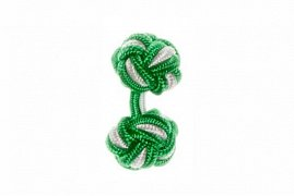 Emerald Green & White Cuffknots Silk Knot Cufflinks