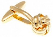 Gold Plated Intricate Woven Ribbon Design Knot Cufflinks