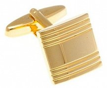 Gold Plated Striped Square Cufflinks