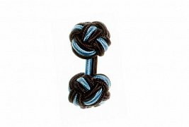 Graphite Grey & Light Blue Cuffknots Silk Knot Cufflinks