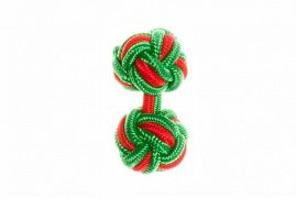 Green & Red Silk Cuffknots