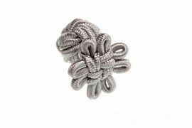Grey Flower Shaped Cuffknots Silk Knot Cufflinks