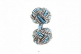 Grey & Light Blue Cuffknots Silk Knot Cufflinks
