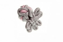 Grey & Pink Flower Shaped Cuffknots Silk Knot Cufflinks