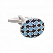Harlequin Patterned Oval Cufflinks in Black and Blue Enamel