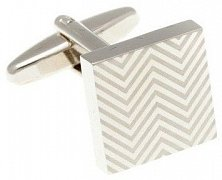 Herringbone Patterned Polished Satin Square Simply Metal Cufflinks