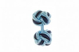 Light Blue & Navy Blue Cuffknots Silk Knot Cufflinks
