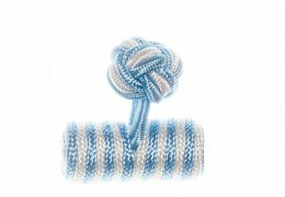 Light Blue & White Barrel Silk Cuffknots