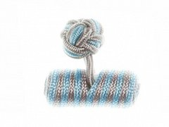 Light Grey & Light Blue Barrel Silk Cuffknots