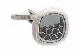 Lucky 7 Cufflinks with Black Crystals