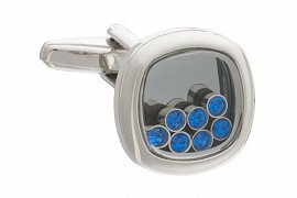 Lucky 7 Cufflinks with Blue Crystals