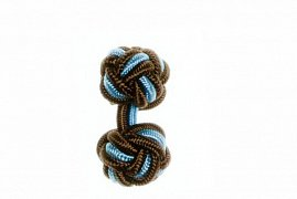 Mocha Brown & Light Blue Cuffknots Silk Knot Cufflinks