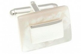 Mother Of Pearl and 925 Solid Silver Rectangular Cufflinks