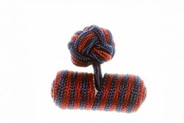 Navy Blue & Claret Deep Red Barrel Silk Cuffknots