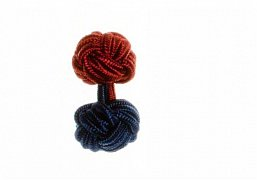 Navy Blue & Claret Deep Red Different Colour Ends Silk Cuffknots