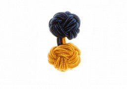 Navy Blue & Gold Different Colour Ends Cuffknots Silk Knot Cufflinks