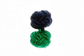 Navy Blue & Green Different Colour Ends Cuffknots Silk Cuffknots