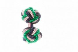 Navy Blue, Green & Pink Silk Cuffknots