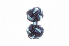 Navy Blue & Light Blue Silk Cuffknots