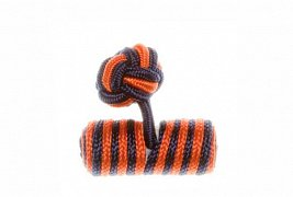 Navy Blue & Tango Orange Barrel Silk Cuffknots