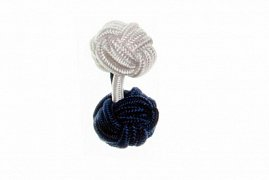 Navy Blue & White Different Colour Ends Silk Cuffknots