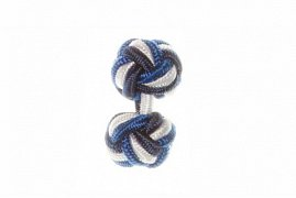 Navy Blue, White & Royal Blue Silk Cuffknots