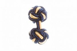 Navy Blue & Yellow Silk Cuffknots