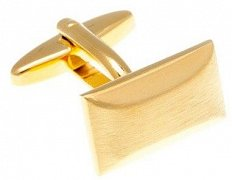Oblong Brushed Gold Plated Cufflinks