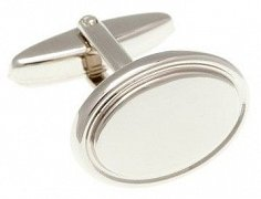Oval Shaped Simply Metal Cufflinks