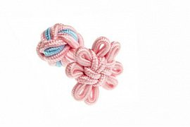 Pink & Light Blue Flower Shaped Cuffknots Silk Knot Cufflinks