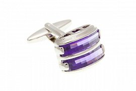 Purple Crystal Double Stripe Rectangular Cufflinks