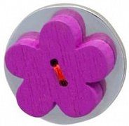 Purple Wooden Flower Lapel Pin